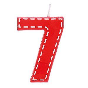 Vela de Aniversário nº7  Tracejada Vermelho P - 01 unidade - Cromus - Rizzo Festas