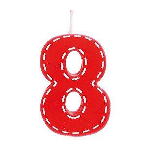 Vela de Aniversário nº8  Tracejada Vermelho P - 01 unidade - Cromus - Rizzo Festas
