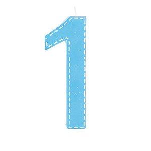Vela de Aniversário nº1  Tracejada Azul G - 01 unidade - Cromus - Rizzo Festas