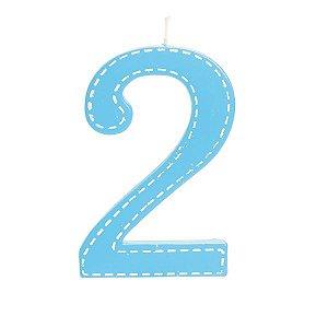 Vela de Aniversário nº2  Tracejada Azul G - 01 unidade - Cromus - Rizzo Festas