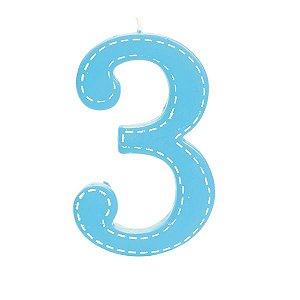 Vela de Aniversário nº3  Tracejada Azul G - 01 unidade - Cromus - Rizzo Festas