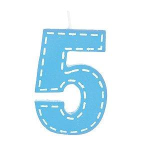 Vela de Aniversário nº5  Tracejada Azul G - 01 unidade - Cromus - Rizzo Festas