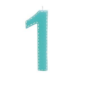 Vela de Aniversário nº1  Tracejada Turquesa G - 01 unidade - Cromus - Rizzo Festas