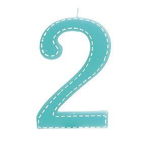 Vela de Aniversário nº2  Tracejada Turquesa G - 01 unidade - Cromus - Rizzo Festas