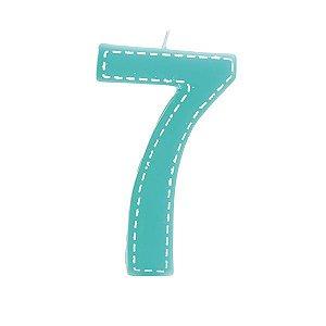 Vela de Aniversário nº7  Tracejada Turquesa G - 01 unidade - Cromus - Rizzo Festas