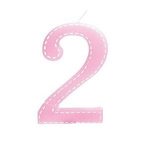 Vela de Aniversário nº2  Tracejada Rosa G - 01 unidade - Cromus - Rizzo Festas