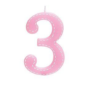 Vela de Aniversário nº3  Tracejada Rosa G - 01 unidade - Cromus - Rizzo Festas