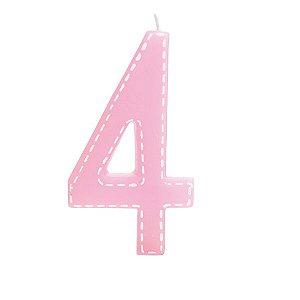 Vela de Aniversário nº4  Tracejada Rosa G - 01 unidade - Cromus - Rizzo Festas