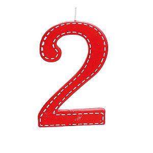 Vela de Aniversário nº2  Tracejada Vermelho G - 01 unidade - Cromus - Rizzo Festas