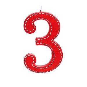 Vela de Aniversário nº3  Tracejada Vermelho G - 01 unidade - Cromus - Rizzo Festas