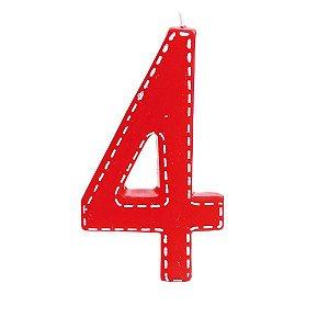 Vela de Aniversário nº4  Tracejada Vermelho G - 01 unidade - Cromus - Rizzo Festas