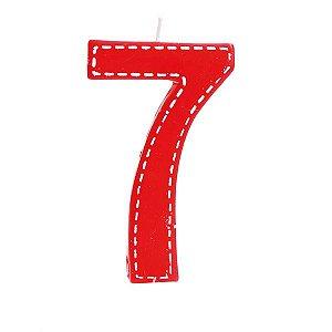 Vela de Aniversário nº7  Tracejada Vermelho G - 01 unidade - Cromus - Rizzo Festas