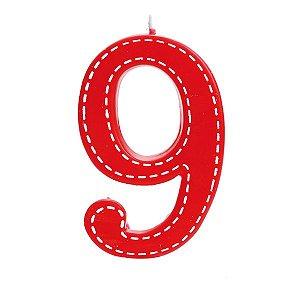 Vela de Aniversário nº9  Tracejada Vermelho G - 01 unidade - Cromus - Rizzo Festas