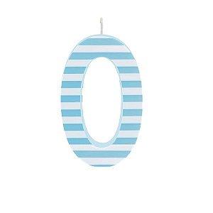 Vela de Aniversário nº0  Listrada Azul G - 01 unidade - Cromus - Rizzo Festas