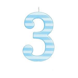Vela de Aniversário nº3  Listrada Azul G - 01 unidade - Cromus - Rizzo Festas