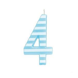 Vela de Aniversário nº4  Listrada Azul G - 01 unidade - Cromus - Rizzo Festas