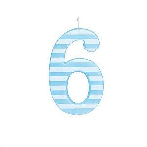 Vela de Aniversário nº6  Listrada Azul G - 01 unidade - Cromus - Rizzo Festas