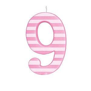 Vela de Aniversário nº9  Listrada Rosa G - 01 unidade - Cromus - Rizzo Festas