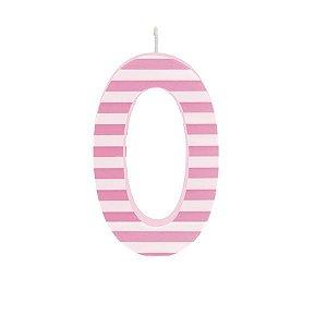 Vela de Aniversário nº0  Listrada Rosa G - 01 unidade - Cromus - Rizzo Festas