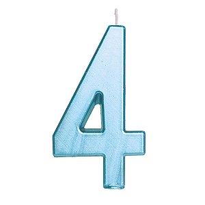 Vela de Aniversário nº4  Metalizado Azul G - 01 unidade - Cromus - Rizzo Festas