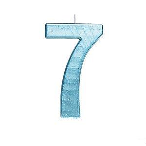 Vela de Aniversário nº7  Metalizado Azul G - 01 unidade - Cromus - Rizzo Festas