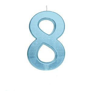 Vela de Aniversário nº8  Metalizado Azul G - 01 unidade - Cromus - Rizzo Festas