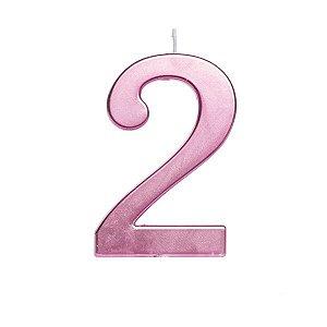 Vela de Aniversário nº2  Metalizado Rosa G - 01 unidade - Cromus - Rizzo Festas