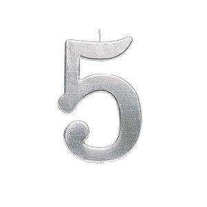 Vela de Aniversário nº5  Metalizado Prata G - 01 unidade - Cromus - Rizzo Festas