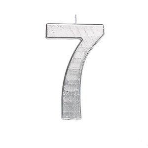 Vela de Aniversário nº7  Metalizado Prata G - 01 unidade - Cromus - Rizzo Festas