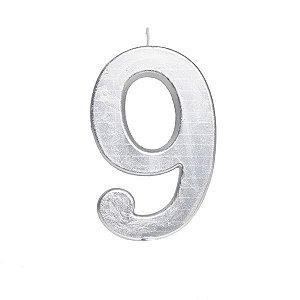 Vela de Aniversário nº9  Metalizado Prata G - 01 unidade - Cromus - Rizzo Festas