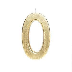 Vela de Aniversário nº0  Metalizado Ouro G - 01 unidade - Cromus - Rizzo Festas