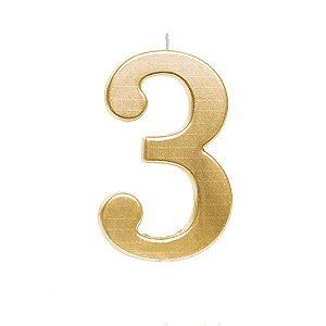 Vela de Aniversário nº3  Metalizado Ouro G - 01 unidade - Cromus - Rizzo Festas