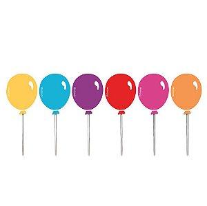 Pick Decorativo Balões Festa Cores - 12 unidades - Cromus - Rizzo Festas