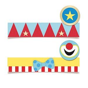 Adesivo Retangular para Lembrancinha Festa Circo - 20 unidades - Cromus - Rizzo Festas