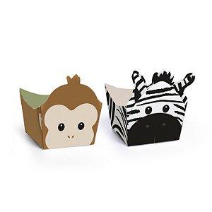 Forminha para Doces Cachepot Festa Safari - Macaco e Zebra - 24 unidades - Cromus - Rizzo Festas
