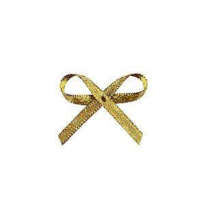 Laço Cetim Mosquitinho - Dourado - 100 unidades - Rizzo Embalagens