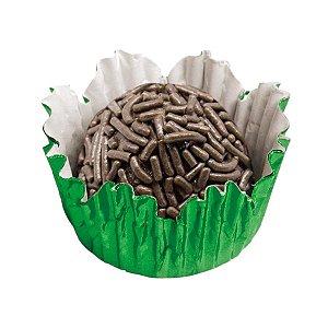 Forminhas para Doces N° 3 Recortada Verde Metalizada com 50 unidades Mago Rizzo Embalagens
