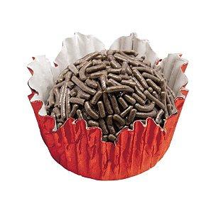 Forminhas para Doces N° 3 Recortada Vermelha Metalizada com 50 unidades Mago Rizzo Embalagens