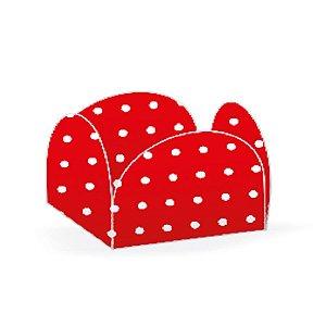 Forminhas para Doces 4 Pétalas Poá Poá Vermelha e Branco 50 unidades NC Toys
