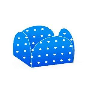 Forminhas para Doces 4 Pétalas Poá Azul e Branco 50 unidades NC Toys