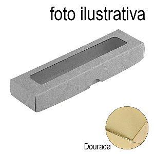 Caixa com Visor S00 (4cm x 15,5cm x 2cm) Dourada 10 unidades Assk Rizzo Embalagens