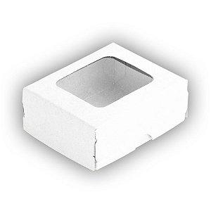 Caixa 4 Doces com Visor S0 (6cm x 5cm x 2,5cm) Branca 10 unidades Assk Rizzo Embalagens