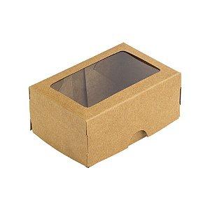 Caixa 2 Doces com Visor S1 (6cm x 9cm x 4cm) Kraft 10 unidades Assk Rizzo Embalagens