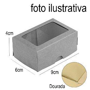 Caixa 2 Doces com Visor S1 (6cm x 9cm x 4cm) Dourada 10 unidades Assk Rizzo Embalagens