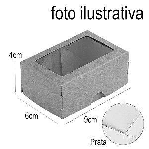 Caixa 2 Doces com Visor S1 (6cm x 9cm x 4cm) Prata 10 unidades Assk Rizzo Embalagens