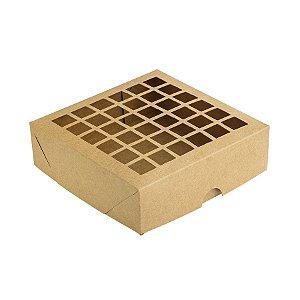 Caixa com Visor Vazada S3 (14cm x 14cm x 4cm) Kraft 10 unidades Assk Rizzo Embalagens