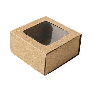 Caixa Gaveta com Visor Nº1 (8cm x 8cm x 4cm) Kraft 10 unidades Assk Rizzo Embalagens