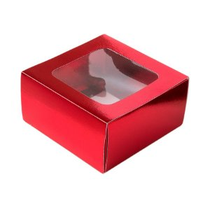 Caixa Gaveta com Visor Nº1 (8cm x 8cm x 4cm) Vermelha 10 unidades Assk Rizzo Embalagens