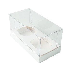 Caixa Cupcake com Tampa Transparente 2 Cavidades (17cm x 9cm x 8,5cm) Branca 10 unidades Assk Rizzo Embalagens