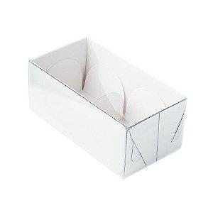 Caixa 2 Doces com Tampa Transparente Nº 2 (8,5cm x 4cm x 3,5cm) Branca 10 unidades Assk Rizzo Embalagens